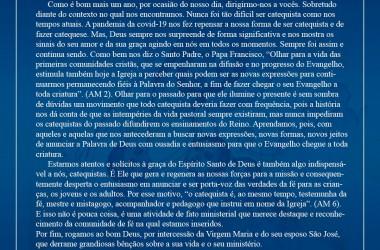 Carta aos Catequistas da Diocese de Garanhuns