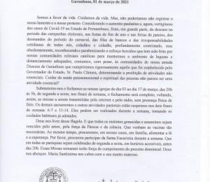 COMUNICADO - COVID-19 Garanhuns, 01 de março de 2021