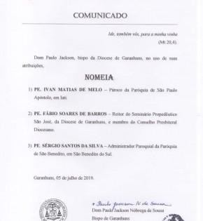Nomeações de três novos padres