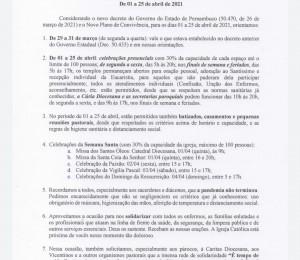 Orientações da Diocese de Garanhuns