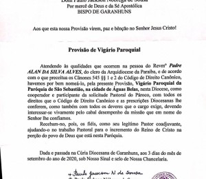 Provisão de Vigário Paroquial
